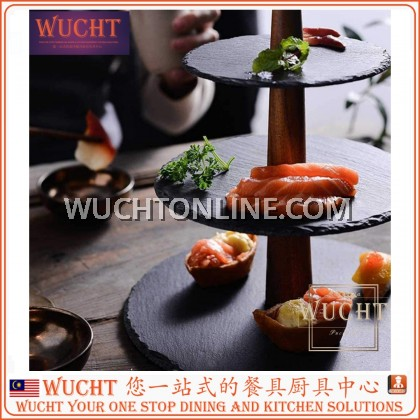 【WUCHT】Natural Slate Cake Display Stand – 3 tier Afternoon Tea Stand Cupcake Stand Natural Slate Serving Platter for Cookies Sandwich Muffins Dessert Birthday Wedding Food Photography Tool