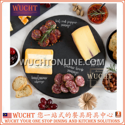 【WUCHT】BLACK NATURAL SLATE PLATE  ROUND SLATE PLATE - Serving Plate / Cheese Plate / Dining Plate